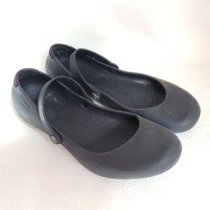 Black Crocs Strap Flats